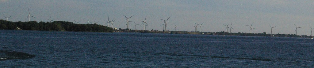 A few years ago, I took this photo of some of the onshore wind turbines on Wolfe Island. I don't have any photos of the offshore installations, because they haven't been built.