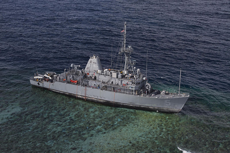 USS Guardian aground in the Sulu Sea January 2013