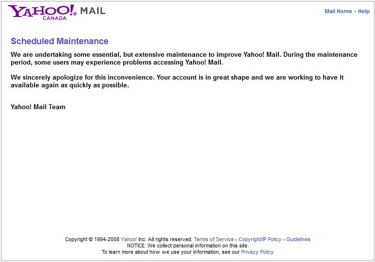 Yahoo mail outage