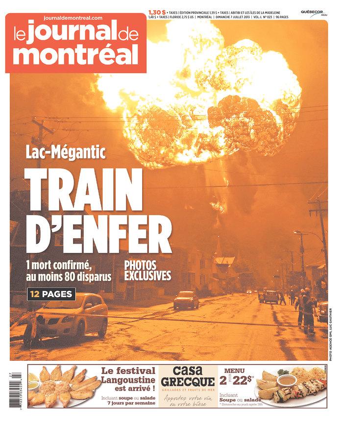 Front page of Le Journal de Montréal, 2013-07-07