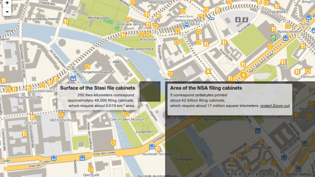 Comparison of the Stasi and NSA archives. The Stasi archives were a building in Berlin, the NSA archives seem to be more like a couple of entire blocks.