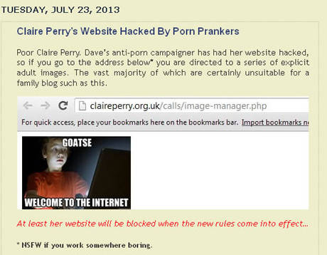 UK MP Claire Perry hacked