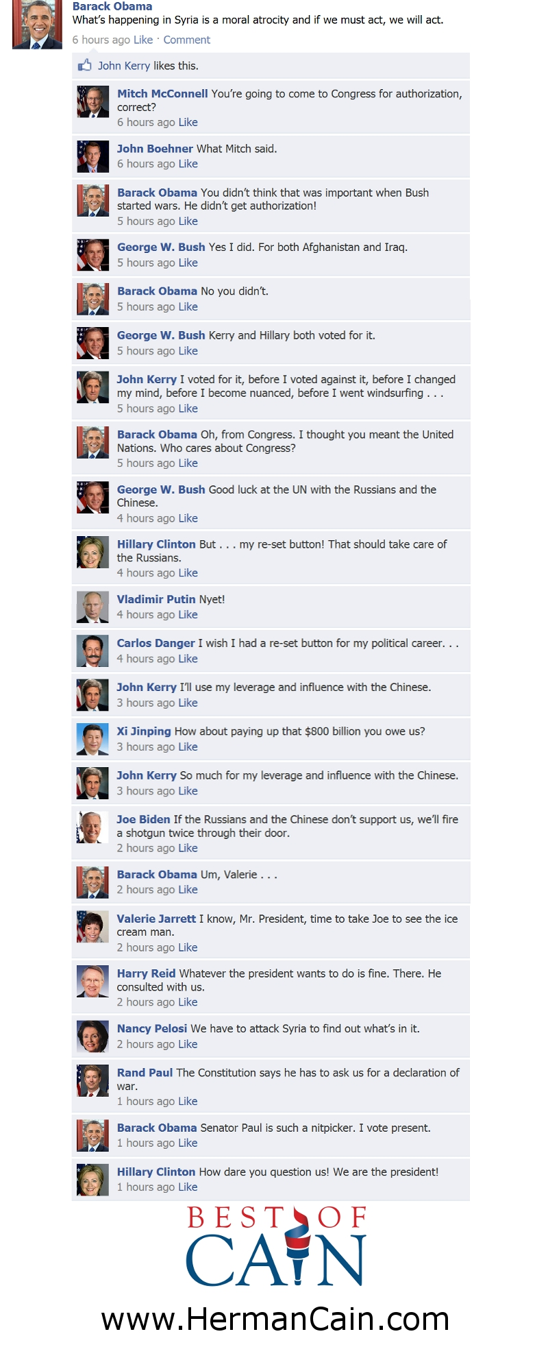 Cain - Facebook posts on Syria