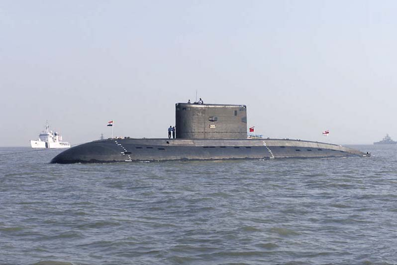 The Indian Navy submarine INS Sindhurakshak (S 63) at anchorage off the port city of Mumbai, India