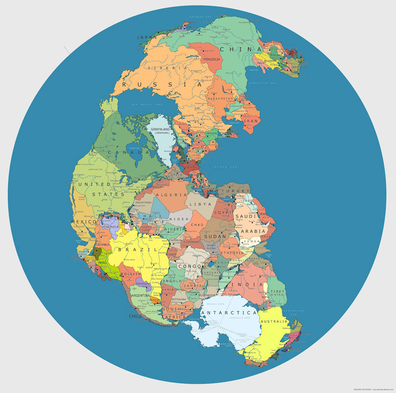 Pangaea with current international borders