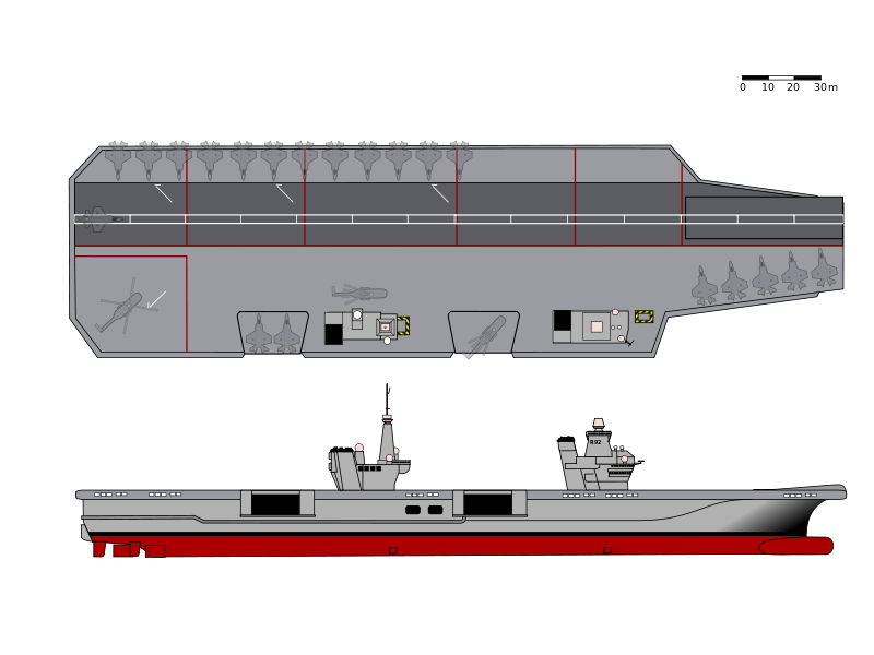 Queen Elizabeth class side and overhead views