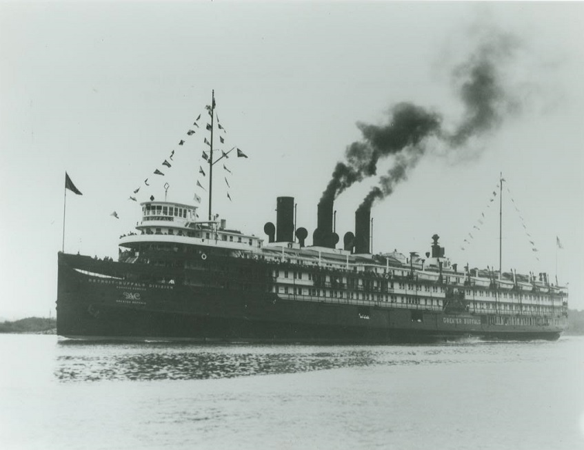 The steamship 'Greater Buffalo' before it was converted to the 'USS Sable' (IX-81).