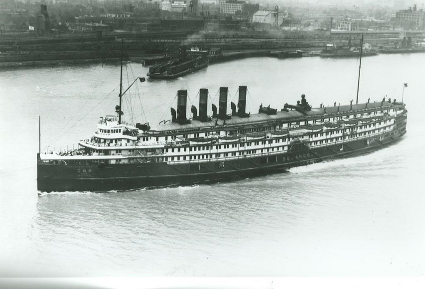The steamship 'Seeandbee' before it was converted to the 'USS Wolverine' (IX-64)