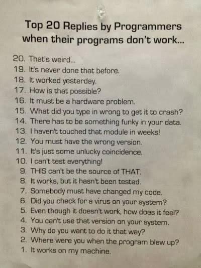 Programmer top 20 replies