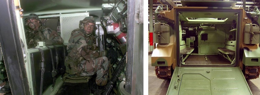 Comparing the interiors of the LAV-25 (left) and M113 (right)