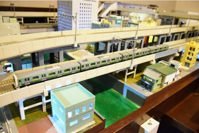 Tokyo hotel room with train layout 2