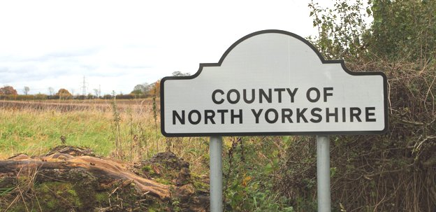 County boundary sign for North Yorkshire
