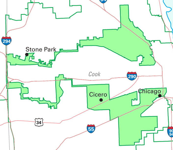 Here it is: The most ridiculous congressional district in the entire country. No, you're not looking at two districts; IL-4 has two absurdly gerrymandered halves held together by a thin strip of land at its western edge that is nothing more than the median strip along Interstate Highway 294. The end result is a gerrymandered gerrymander, a complete mockery of what congressional representation is even supposed to be. As with AZ-2, the intention behind IL-4 was to create an ethnic enclave, in this case an Hispanic-majority district within an otherwise overwhelmingly non-Hispanic Chicago. Problem is, Chicago has two completely distinct and geographically separate Hispanic neighborhoods — one Puerto Rican, the other Mexican — but neither is large enough to constitute a district majority on its own. Solution? Lump all Hispanics together into a supposedly coherent cultural grouping, and then carefully draw a line surrounding every single Hispanic household in Chicago, linking the two distant neighborhoods by means of an uninhabited highway margin. Voila! One Hispanic congressperson, by design. And as a side-effect, the most preposterous congressional district in the United States.
