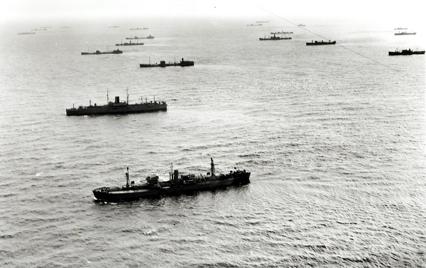 Merchant ships of Convoy HX188 en route to Britain. Photo: Library and Archives Canada PA-115006