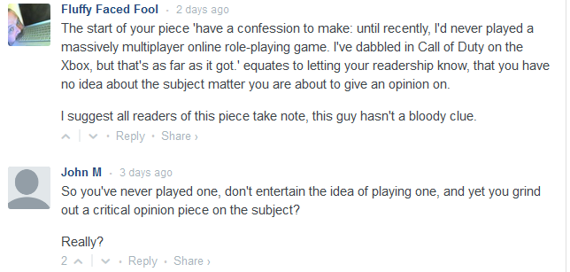 Gaming article comments 1
