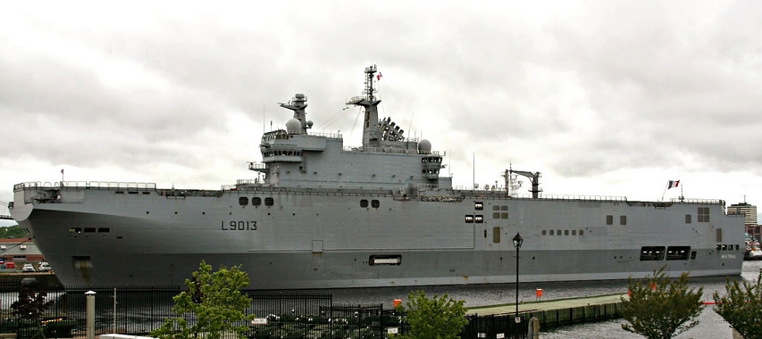 Halifax, Nova Scotia. FS Mistral (L-9013) is an amphibious assault ship, and lead ship of her class. She was commissioned in 2006. She features a landing craft dock, and helicopter facilities. Photo: Halifax Shipping News