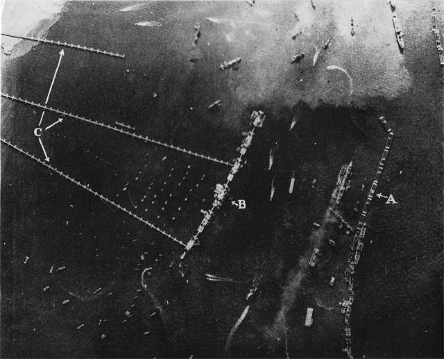 Mulberry harbour aerial view