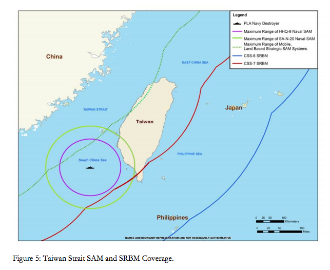 Taiwan Strait SAM and SRBM coverage