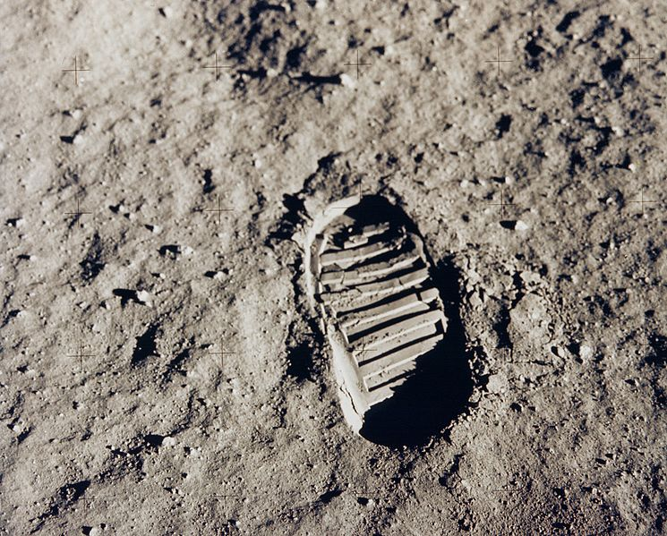 Bootprint in lunar dust created and photographed by Buzz Aldrin for the boot penetration (soil mechanics) task during the Apollo 11 moon walk.