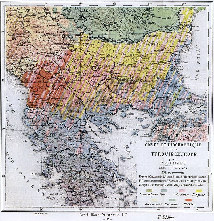 An ethnographic map of the Balkans published in Carte Ethnographique de la Turquie d'Europe par A. Synvet, Lith. E Olivier, Constantinople 1877. (via Wikipedia)