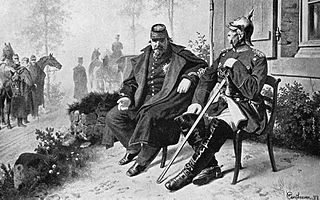 Otto von Bismarck talks with the captive Napoleon III after the Battle of Sedan in 1870.