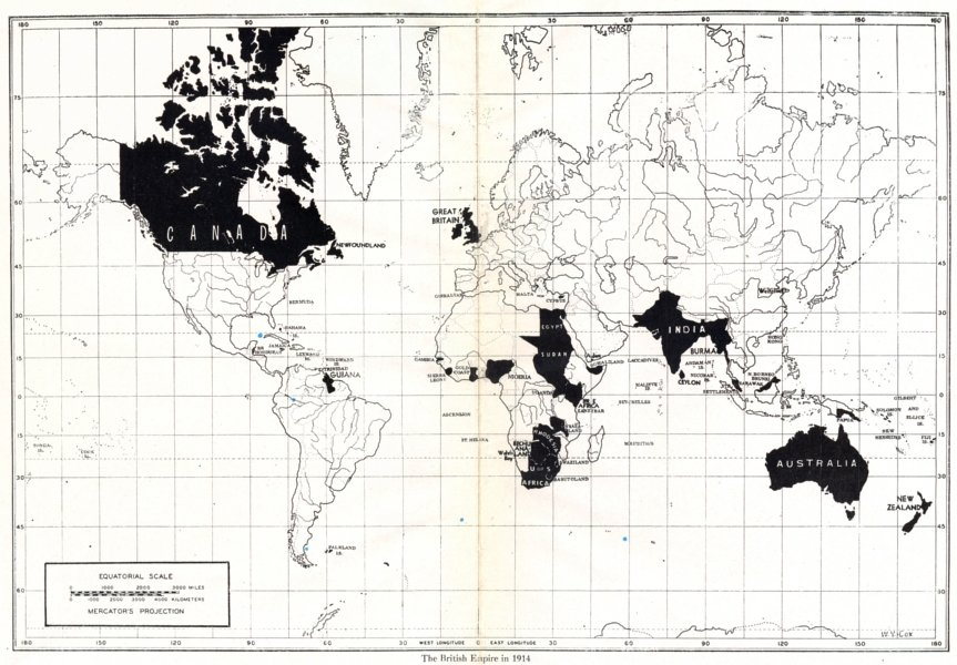 The British Empire in 1914 (via antiquaprintgallery.com)