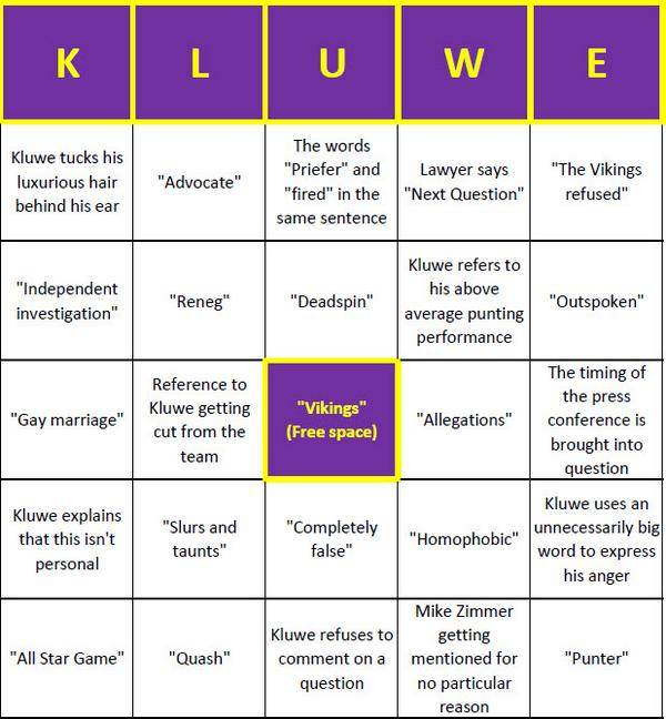 Chris Kluwe press conference bingo card