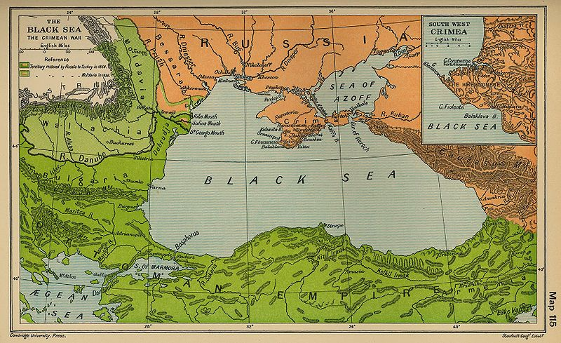 The Black Sea in 1856 with the territorial adjustments of the Congress of Paris marked (via Wikipedia)