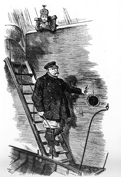 Dropping the Pilot. Caricature by Sir John Tenniel (1820-1914), first published in the British magazine Punch, March 1890. Showing German Emperor Wilhelm II and the leaving Chancellor Otto von Bismarck.