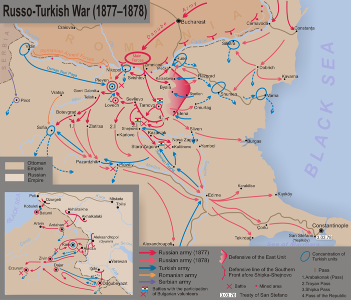 The campaigns and major battles of the Russo-Turkish War, 1877-78 (via Wikipedia)