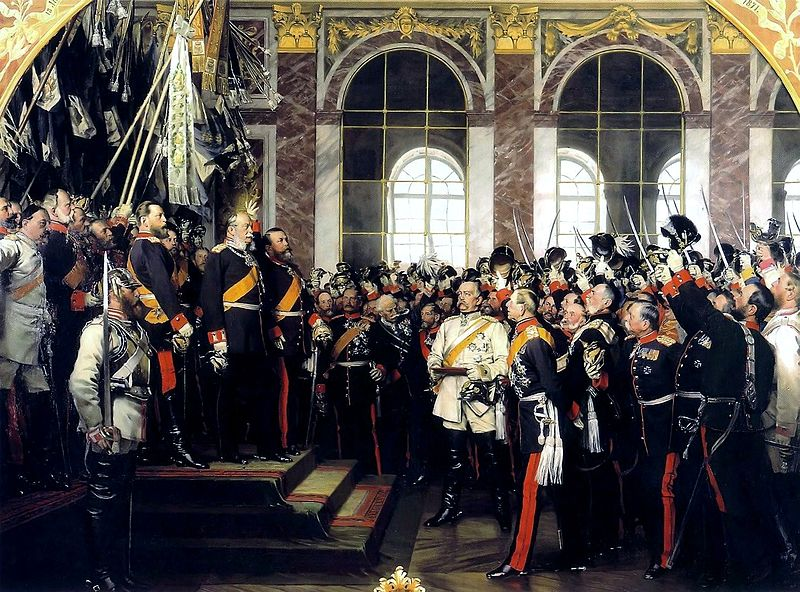 The proclamation of Prussian King Wilhelm I as German Emperor at Versailles, by Anton von Werner. The first two versions were destroyed in the Second World War. This version was commissioned by the Prussian royal family for chancellor Bismarck's 70th birthday.