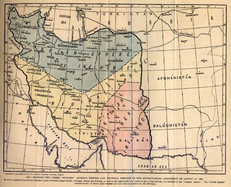 Anglo-Russian spheres of influence in Persia, 1907 (via Wikipedia)