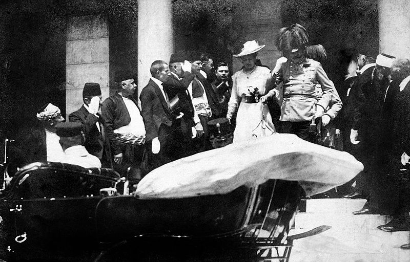 Franz Ferdinand and his wife Sophie leave the Sarajevo Guildhall after reading a speech on June 28 1914. They were assassinated five minutes later. (Photo via Wikipedia)
