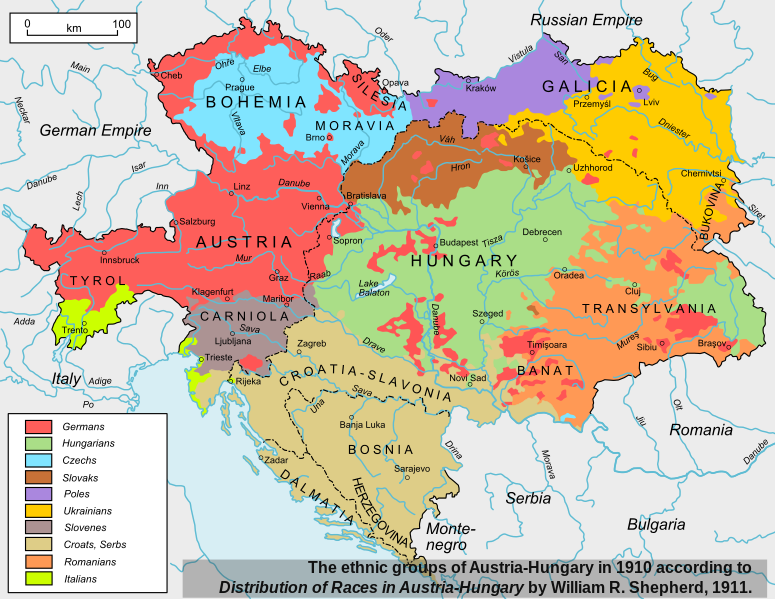 """The ethnic groups of Austria-Hungary in 1910. Based on """"Distribution of Races in Austria-Hungary"""" by William R. Shepherd, 1911. City names changed to those in use since 1945. (via Wikipedia)"""