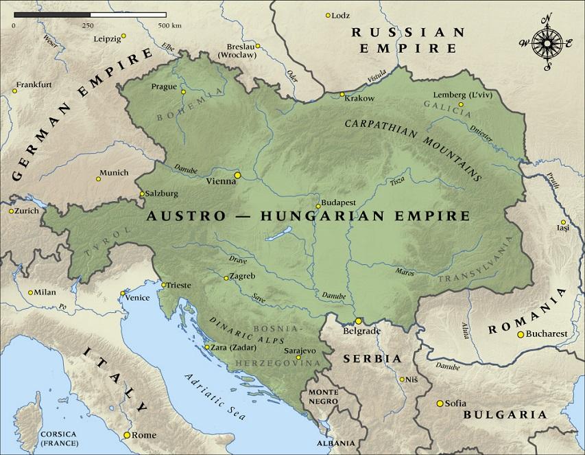 Austria-Hungary in 1914 (via NZHistory)