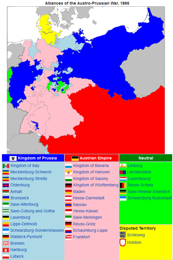 The contending forces in the Austro-Prussian War, 1866 (via Wikipedia)