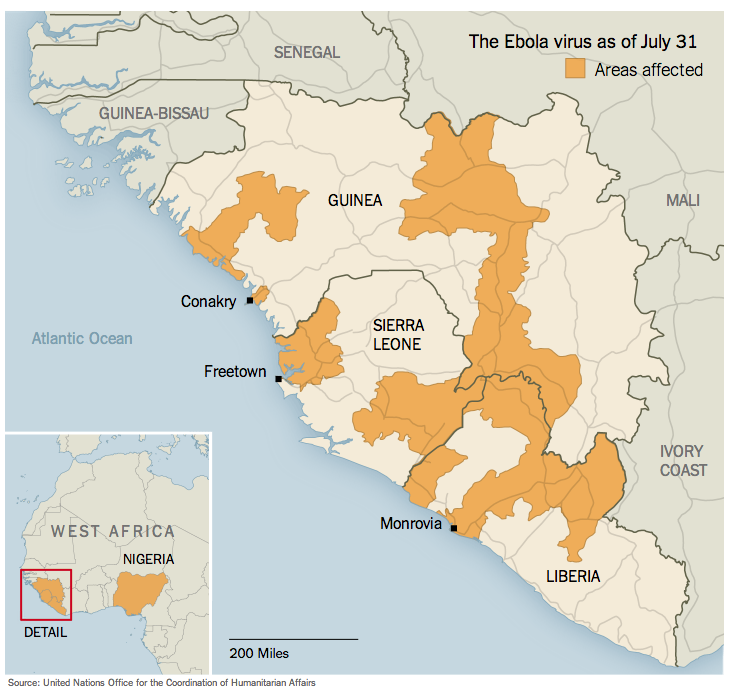 Ebola outbreak in west Africa