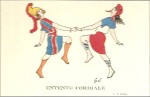 Britannia and Marianne dancing together on a 1904 French postcard: a celebration of the signing of the Entente Cordiale. (via Wikipedia)