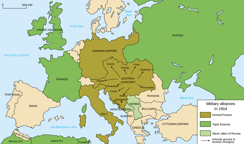 The primary alliances in Europe, July 1914 (via Wikipedia)