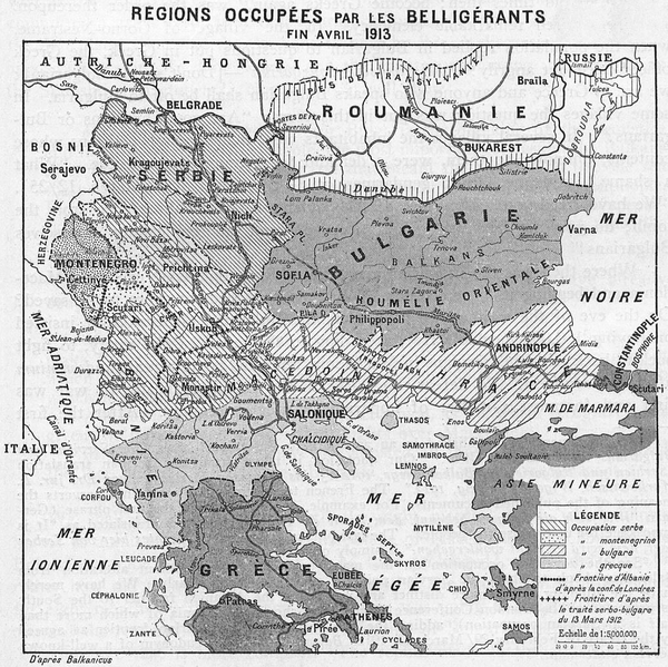 French map of the territorial changes due to the First Balkan War (via Wikipedia)