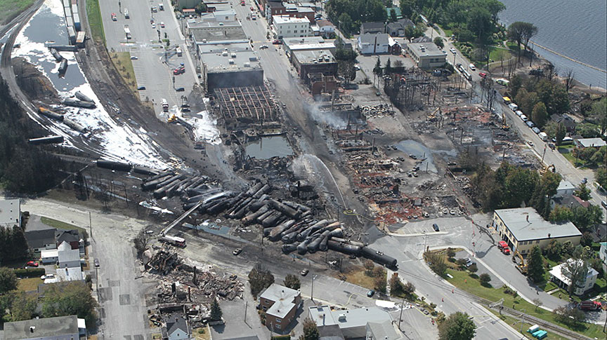 Lac-Mégantic derailment aftermath in July 2013