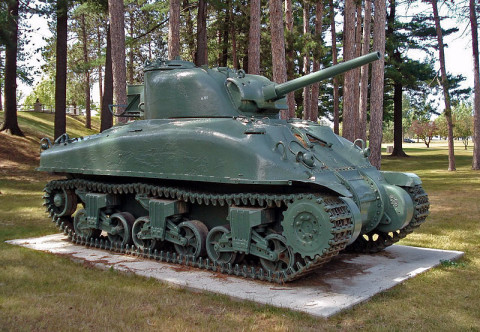 M4A1 Sherman tank at Canadian Forces Base Borden (via Wikipedia)