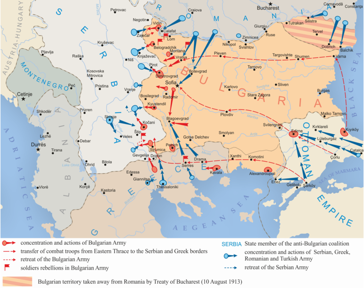 Land operations against Bulgaria in the Second Balkan War, 1913 (via Wikipedia)