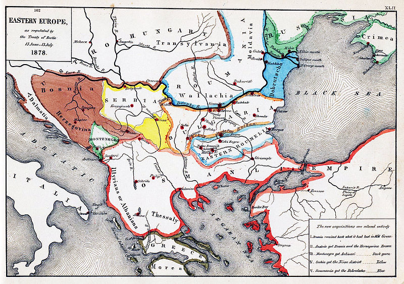 Map of South-Eastern Europe after the Congress of Berlin, 1878 (via Wikipedia)