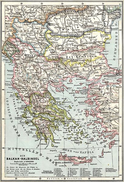 A German map of the Balkans, showing the borders as of 1905 (via Wikiepedia)