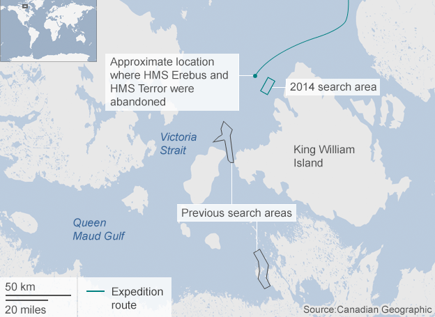 Franklin Expedition search areas