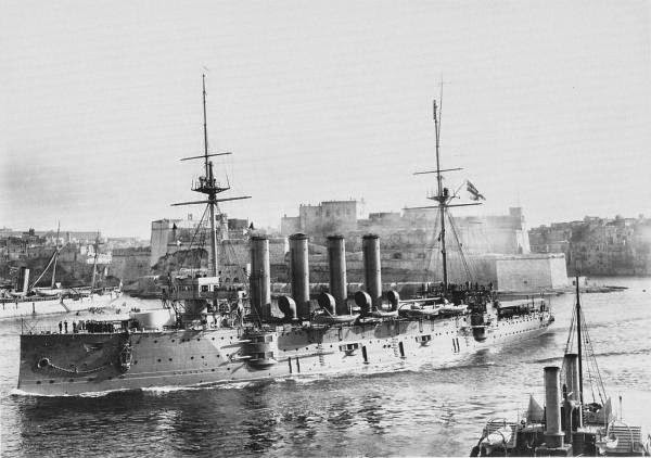 "HMS Aboukir at Malta - note 6"" weapons in casemates along sides"