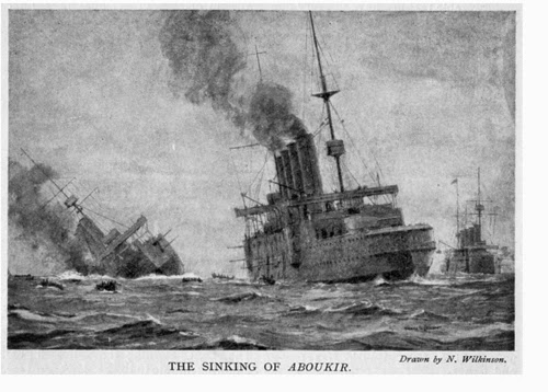 Aboukir sinking - as depicted by the famous British maritime painter Norman Wilkinson the Hogue dropping boats to pick up survivors