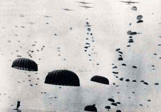 Paratroopers descend enmasse at the DZs near Arnhem, September 1944 Uploaded by: Mac Magreehan. (via Forces.TV)