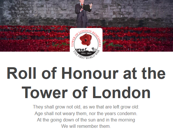 Roll of Honour at the Tower of London